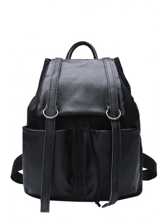 fashion Solid Color Black Belts Satchel - BLACK