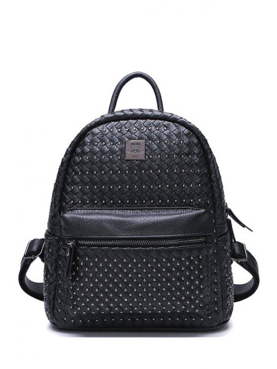 fancy Weaving Rivets Solid Color Satchel - BLACK