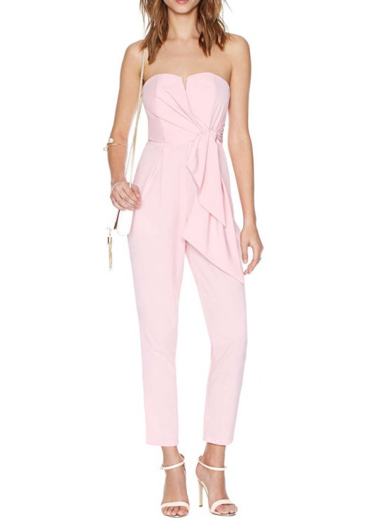 lady Strapless Backless Tie Knot Solid Color Jumpsuit - PINK S