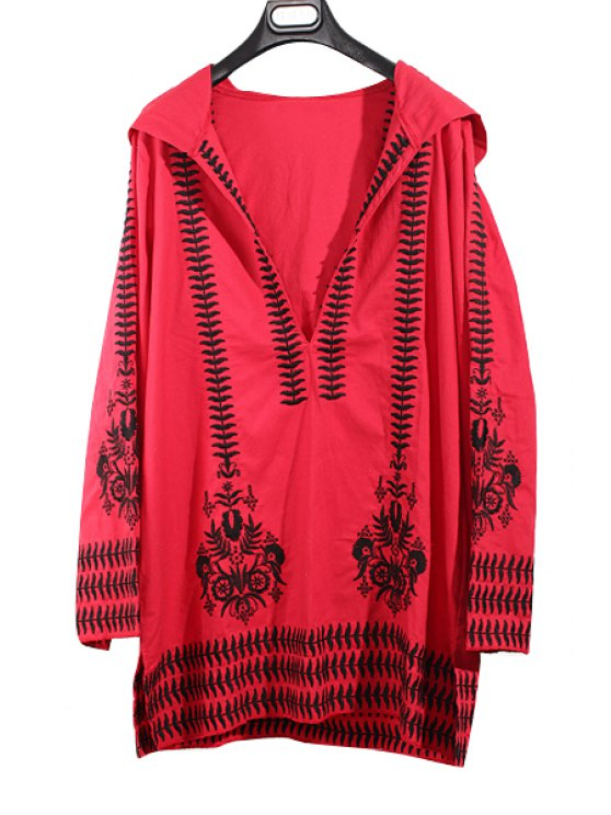 hot Hooded Long Sleeve Totem Embroidery Red Dress - RED ONE SIZE(FIT SIZE XS TO M)
