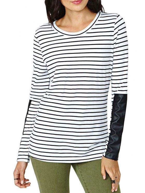 buy Stripe PU Leather Splicing Long Sleeve T-Shirt - STRIPE S