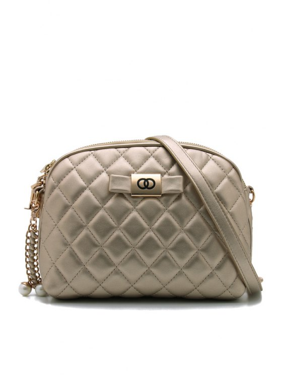trendy Bowknot Checked Chain Stitching Crossbody Bag - GOLDEN