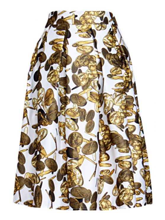 hot Full Coin Print A Line Midi Skirt - WHITE ONE SIZE(FIT SIZE XS TO M)