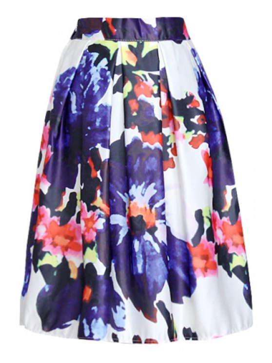 shops Flowers Print A Line Midi Skirt - DEEP BLUE ONE SIZE(FIT SIZE XS TO M)