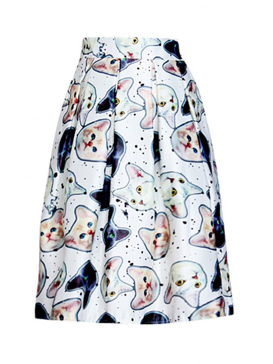 fashion Kitten Print A Line Midi Skirt - WHITE ONE SIZE(FIT SIZE XS TO M)