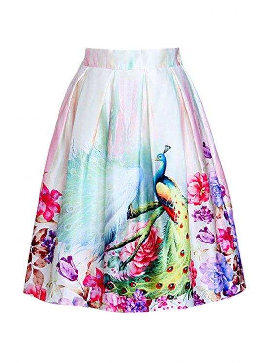 fancy A Line Peacocks Print Midi Skirt - APRICOT ONE SIZE(FIT SIZE XS TO M)
