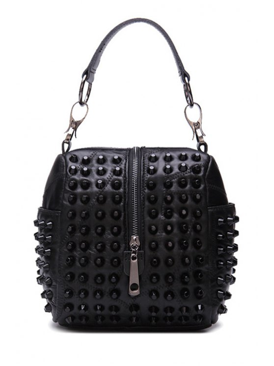 ladies Rivets Zipper Solid Color Tote Bag - BLACK