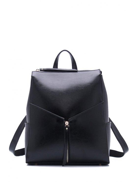 new Solid Color Zipper PU Leather Satchel - BLACK