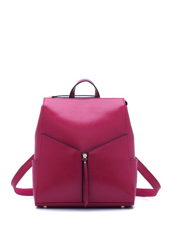 women's Solid Color Zipper PU Leather Satchel - ROSE