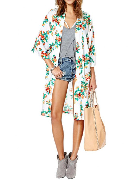 fancy Collarless Flower Print 3/4 Sleeve Blouse - WHITE S