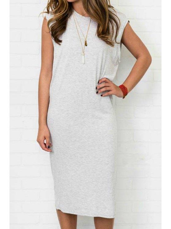 lady Gray Sleeveless Side Slit Dress - GRAY S