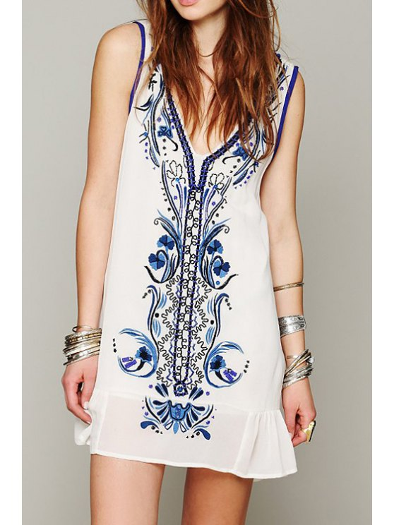 best Blue and White Porcelain Embroidery Beaded Dress - APRICOT S
