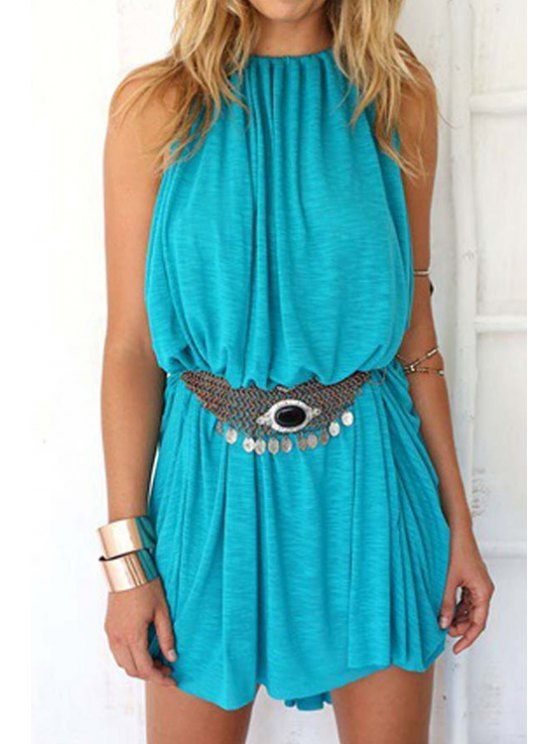 hot Blue Spaghetti Strap Loose-Fitting Dress - BLUE S