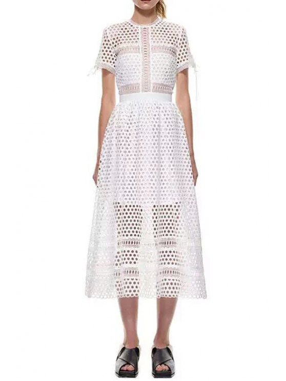 outfits Short Sleeve Mesh Design Spliced Lace Dress - WHITE S