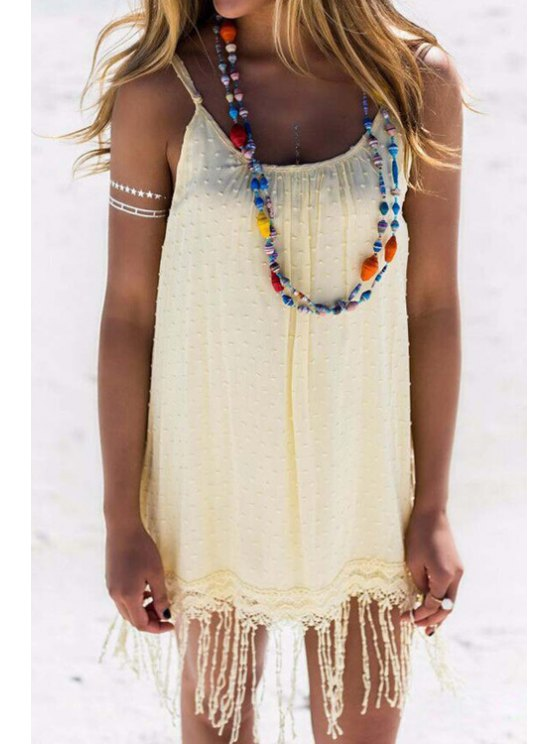 new Solid Color Spaghetti Strap Tassels Dress - LIGHT YELLOW S