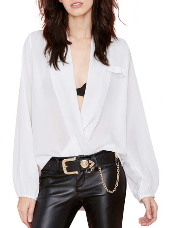 shop Plunging Neck Solid Color Long Sleeve Blouse - WHITE S