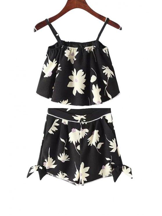 unique Spaghetti Strap Floral Print Tank Top + Bowknot Shorts - BLACK S