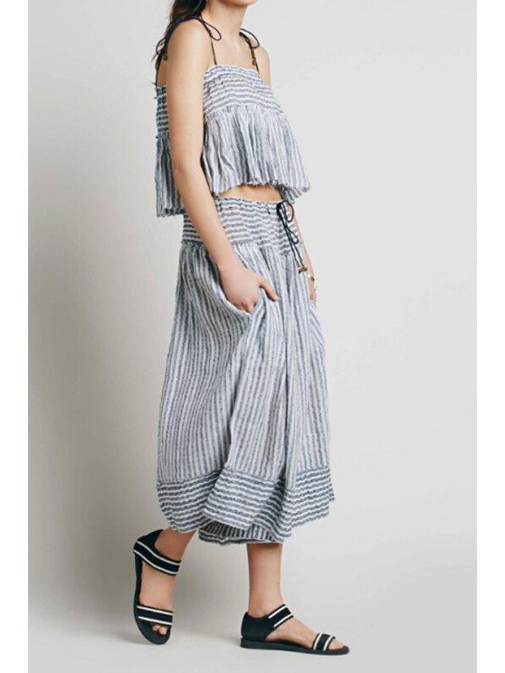 hot Spaghetti Strap Stripe Tank Top + Tie-Up Pants - GRAY ONE SIZE(FIT SIZE XS TO M)