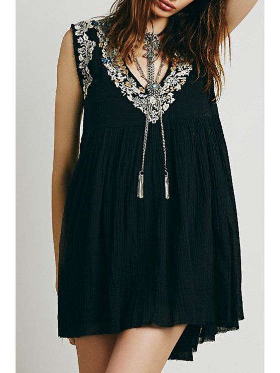 women's Floral Embroidery Ruffle Sleeveless Dress - BLACK ONE SIZE(FIT SIZE XS TO M)