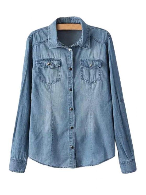fancy Pocket Bleach Wash Denim Long Sleeve Shirt - ICE BLUE S