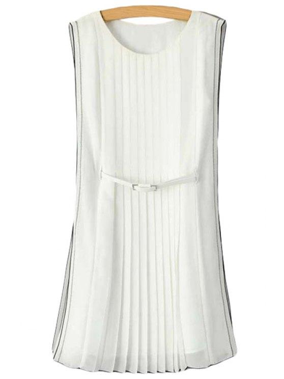 best Ruffle Color Block Edging Belt Sleeveless Dress - WHITE S