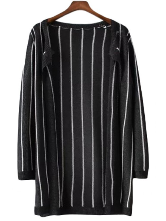 hot Color Block Stripe Long Sleeve Cardigan - BLACK ONE SIZE(FIT SIZE XS TO M)