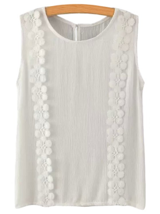 shop Floral Lace Splicing Sleeveless Tank Top - WHITE S