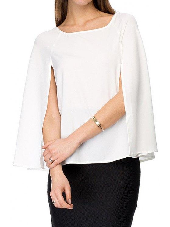 shops Square Neck Solid Color Cape Design Chiffon Blouse - WHITE XS