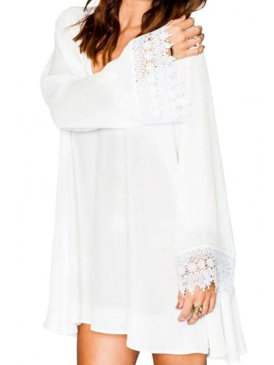 sale Lace Spliced White Long Sleeve Dress - WHITE S