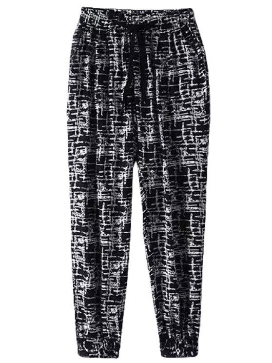 buy Color Block Stripe Elastic Waist Tie-Up Pants - BLACK L