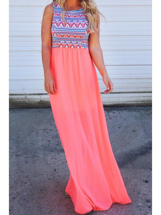 fashion Tribal Print Spliced Sleeveless Maxi Dress - PINK S