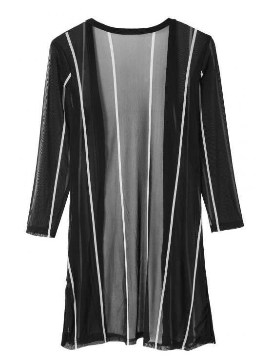 affordable Color Block Stripe Long Sleeve Blouse - BLACK ONE SIZE(FIT SIZE XS TO M)