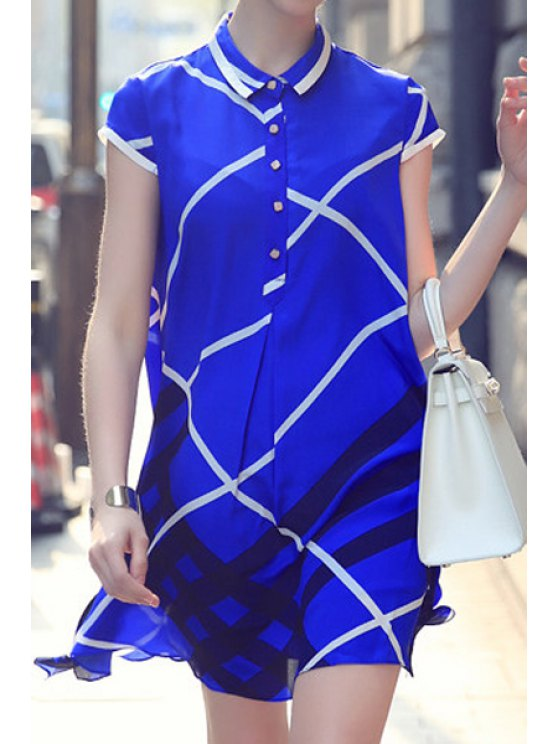 best Checked Print Turn-Down Collar Dress - BLUE S