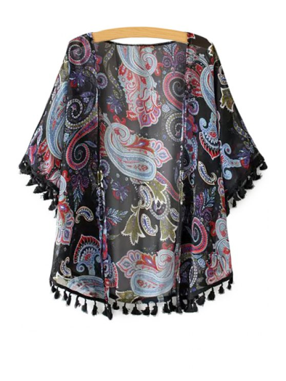 new Paisley Print Tassel Splicing Half Sleeve Kimono - BLACK ONE SIZE(FIT SIZE XS TO M)