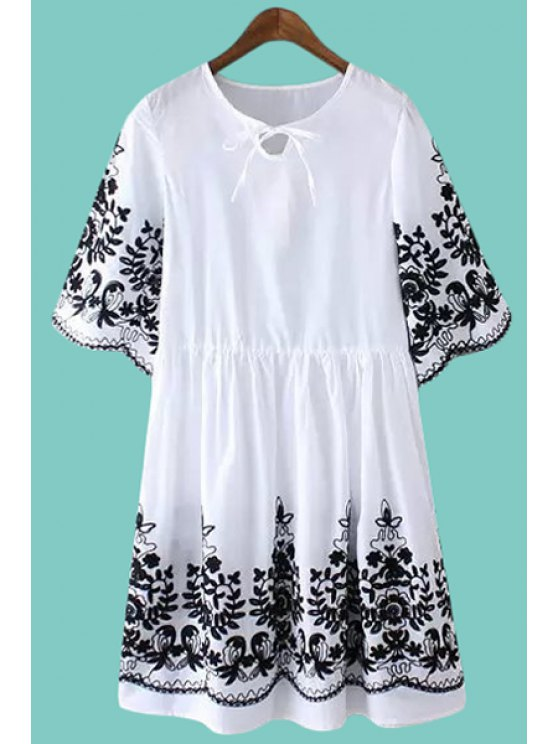 hot Tie-Up Floral Embroidery Short Sleeve Dress - WHITE M