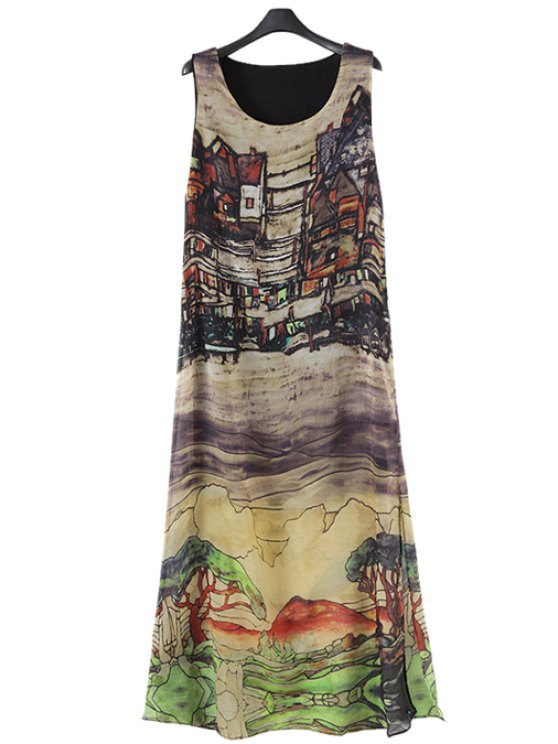 lady Scenery Print Maxi Sundress - COLORMIX S