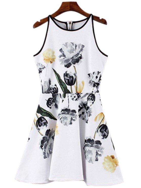 fashion Floral Print Back Zipper Sleeveless Dress - WHITE S