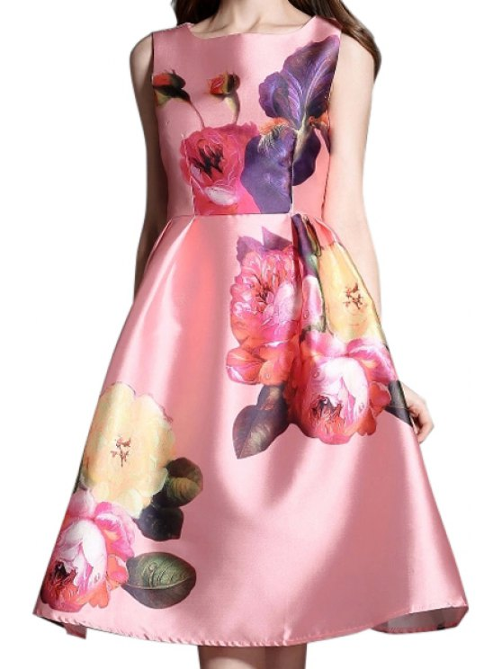 shops Floral Print A Line Midi Sundress - AS THE PICTURE S