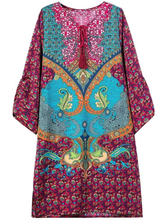 buy V-Neck Tie-Up Floral Print 3/4 Sleeve Dress - AS THE PICTURE S
