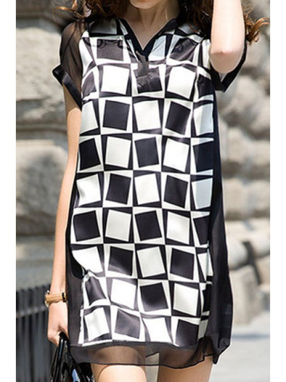 lady Checked Turn-Down Collar Dress - BLACK M