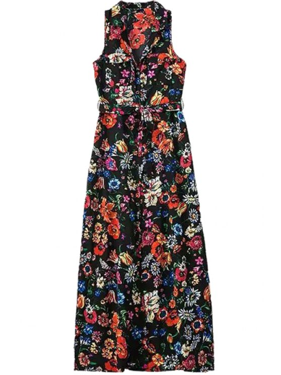 online V-Neck Floral Print Sleeveless Maxi Dress - COLORMIX S