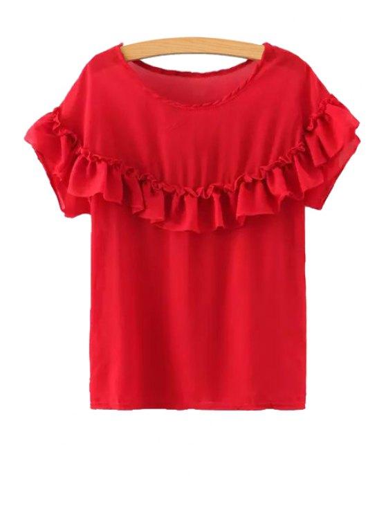 ladies Ruffled Short Sleeve Chiffon Blouse - RED S