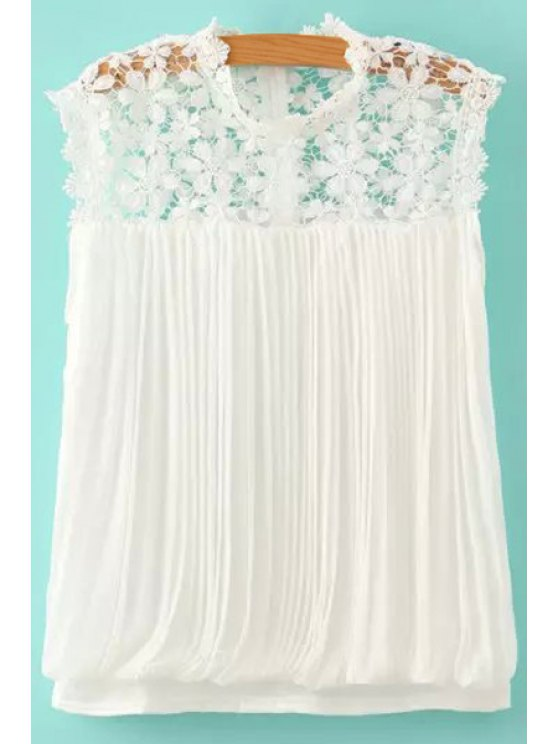 new Lace Spliced Pleated Sleeveless Blouse - WHITE S