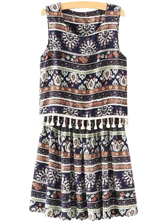 shops Printed Tassel Splicing Sleeveless Dress - COLORMIX ONE SIZE(FIT SIZE XS TO M)