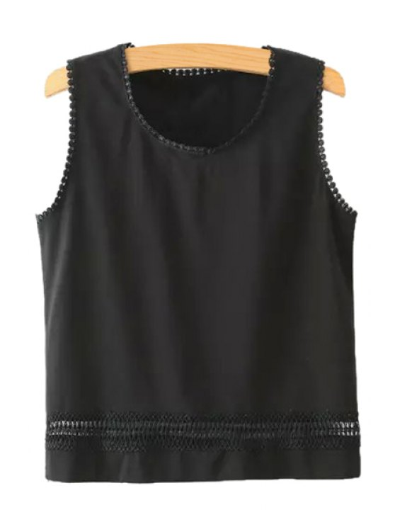 womens Hollow Solid Color Tank Top - BLACK S