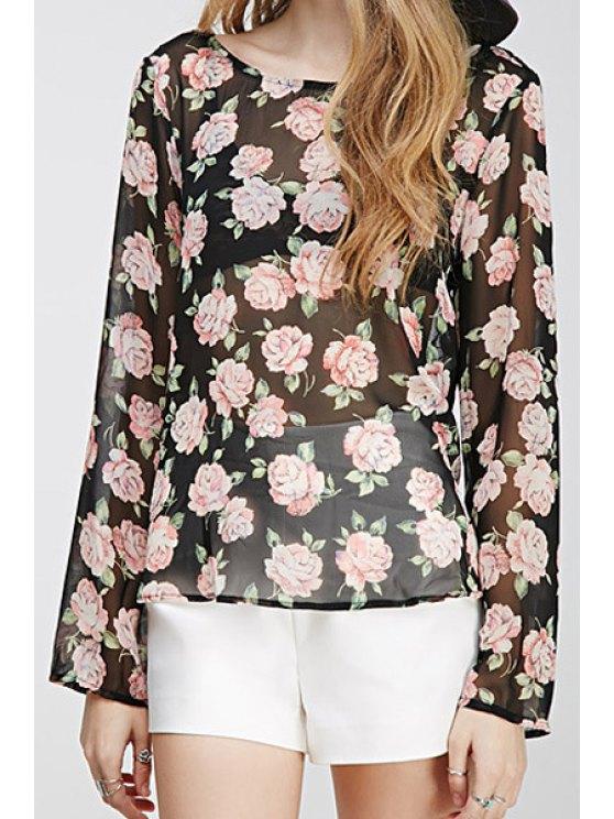 outfit Rose Print Lace Spliced Chiffon Blouse - BLACK L
