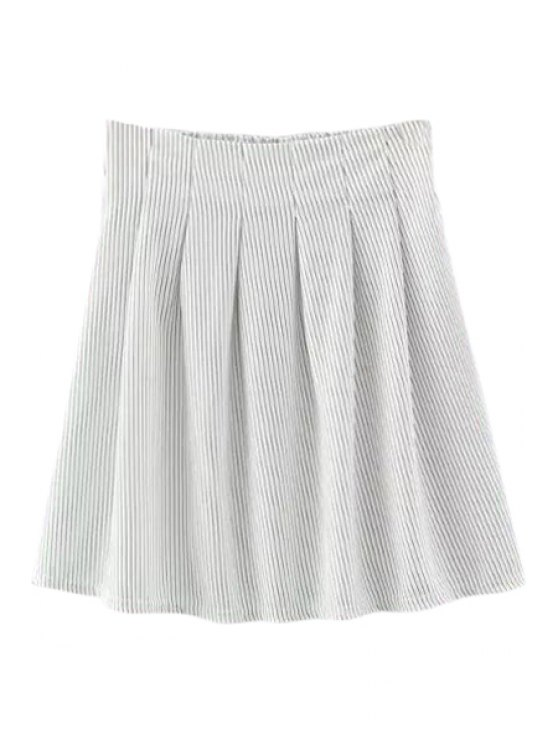 unique Striped High Waisted A Line Skirt - WHITE S