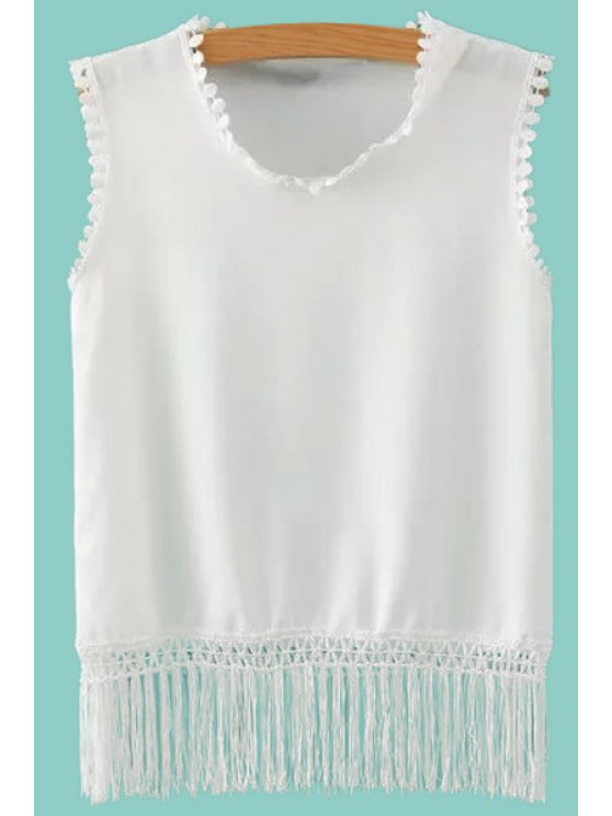 new Tassels Spliced Tank Top - WHITE S