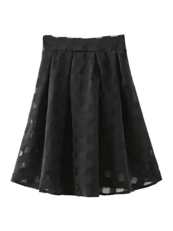 shops Checked A Line Midi Skirt - BLACK S