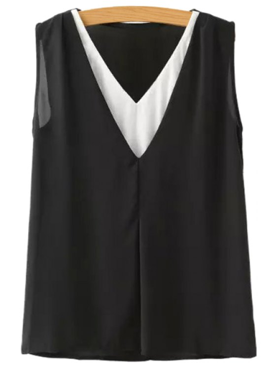 trendy Color Block V Neck Tank Top - BLACK S